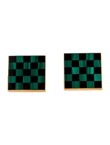 Asprey Malachite and Onyx Checkerboard Cufflinks