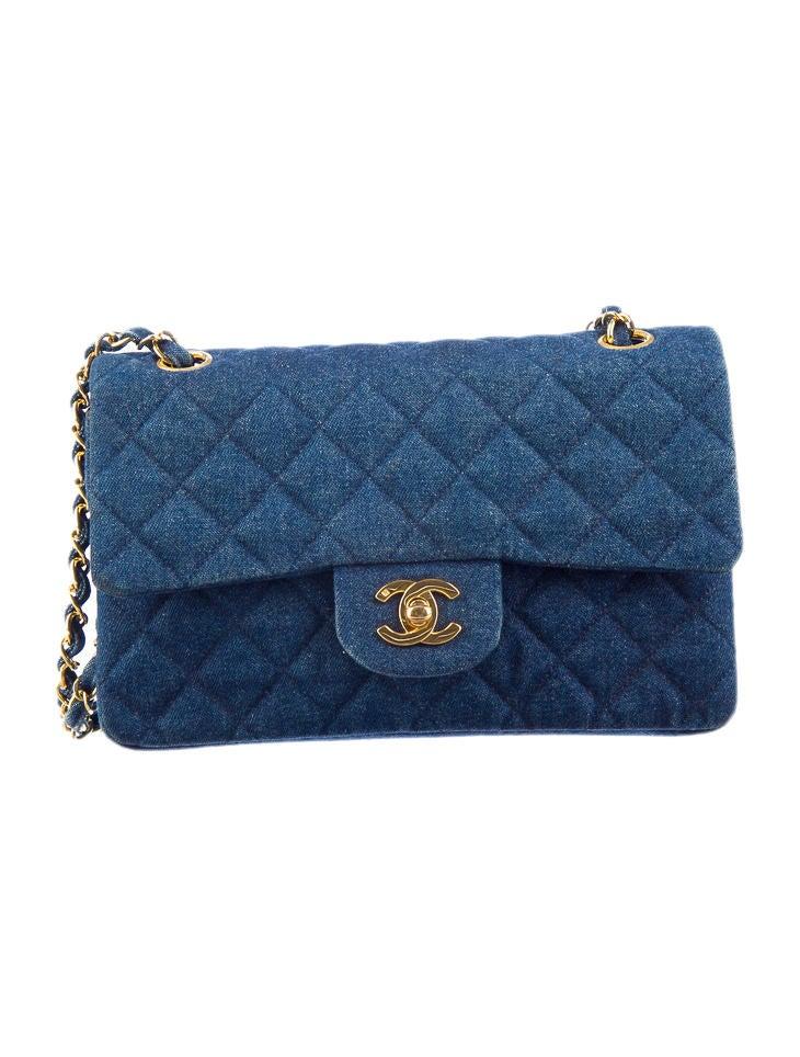 mid blue wash quilted denim shoulder bag with gold tone