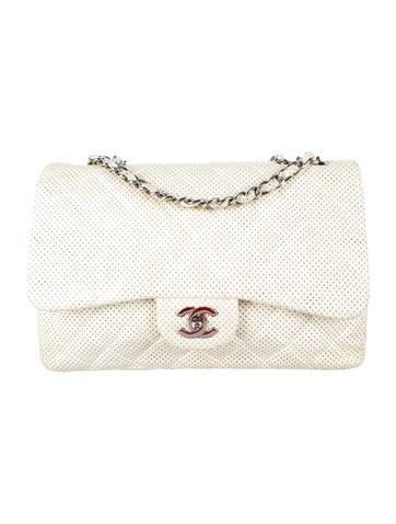 Chanel Geperforeerde Jumbo Single Flap Bag
