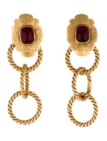 Chanel Gripoix Drop Clip-On Earrings