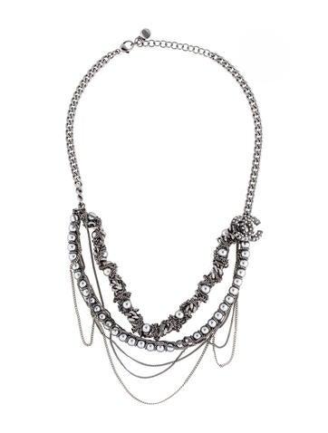 Chanel Gunmetal Bead Necklace