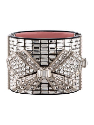Chanel Crystal Bow Cuff Bracelet