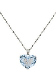 Chopard Happy Diamonds Blue Crystal Heart Necklace