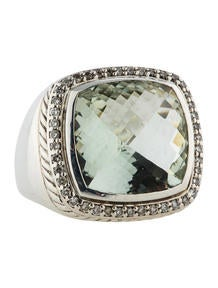 David Yurman Sterling Silver Prasiolite Diamond Albion Ring