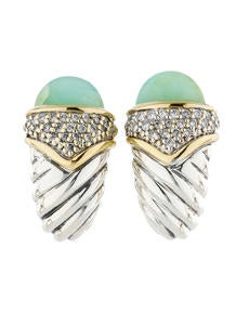 David Yurman 18k Gold & Sterling Silver Peruvian Opal Diamond Capri Earrings