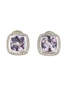 David Yurman Sterling Silver Lavender Amythyst Diamond Albion Earrings