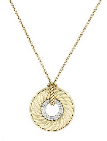 David Yurman Diamond Carved Cable Disc Necklace
