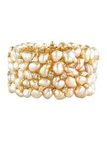 Golden Pearl and Diamond Bracelet 12.00ctw
