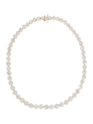Flower Diamond Cluster Necklace 26.82ctw