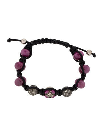 1.00ctw Diamond and Ruby Shamballa Bracelet
