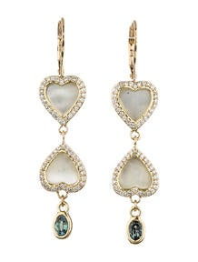 Mother of Pearl, Alexandrite and Diamond Heart Earrings