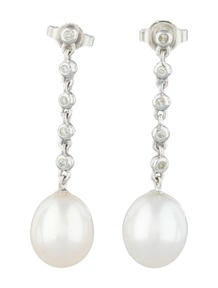 Diamond and Cultured Pearl Earrings