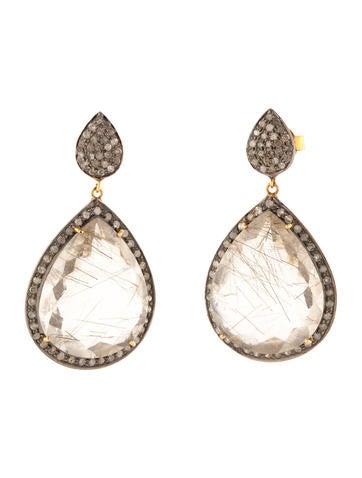 1.10ctw Diamond and Rutilated Quartz Earrings