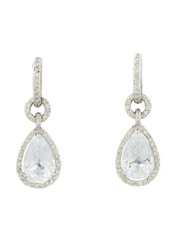 6.3ctw Quartz & Diamond Drop Earrings