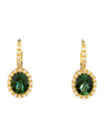 3.76ctw Tourmaline & Diamond Earrings