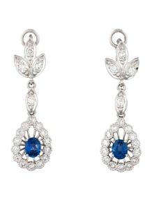 1.2ctw Sapphire & Diamond Drop Earrings