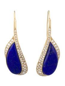 Lapis Lazuli & Diamond Drop Earrings