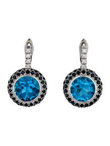 15.5ctw Topaz, Sapphire & Diamond Earrings