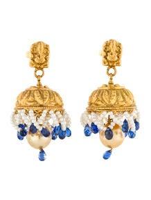 Kyanite and Pearl Drop Earrings