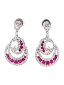 Diamond and Ruby Wave Earrings