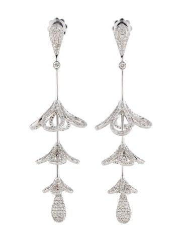 3.90ctw Diamond Flower Drop Earrings