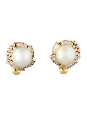1ctw Diamond & Pearl Earrings