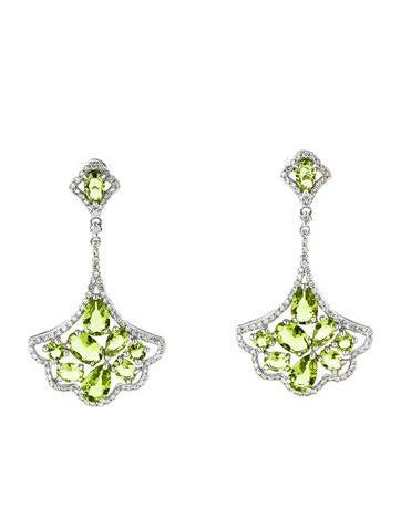 3.45ctw Peridot and Diamond Earrings