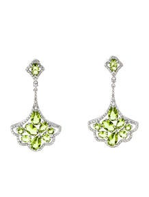 3.45ctw Peridot and Diamond Earrings