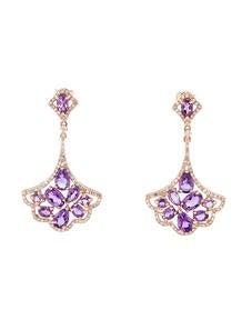 4.15ctw Amethyst and Diamond Fan Drop Earrings