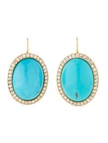 18k Gold Turquoise Diamond Earrings