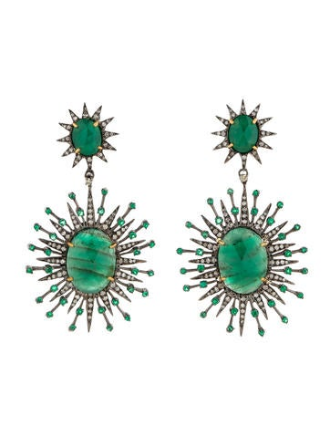 12.23ctw Emerald Earrings with Diamonds w/ Tags