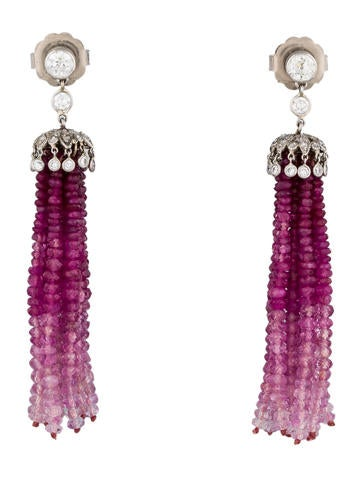 1.04ctw Diamond, Ruby & Sapphire Tassel Earrings
