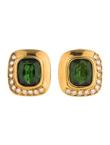 11.50ctw Green Tourmaline and Diamond Clip-On Earrings