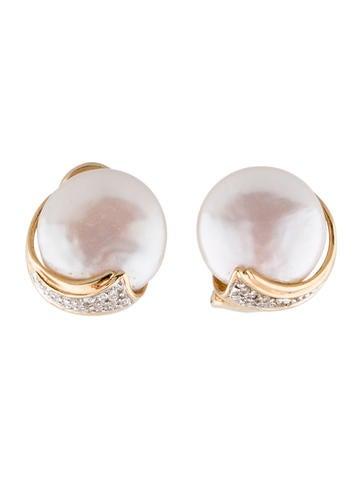 14K Mabe Pearl en Diamond Earrings