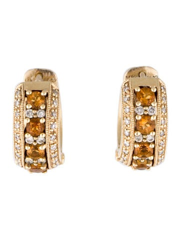 14K Diamond en Citrien Hoop Earrings