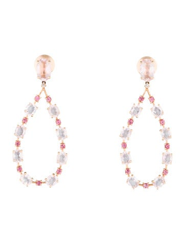 Roze Quartz 0026 Diamond Chandelier Earrings