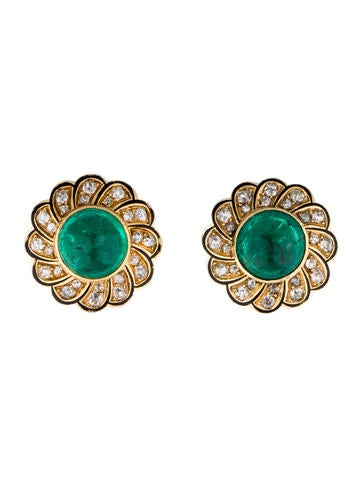 Emerald Cabochon and Diamond Clip-On Earrings