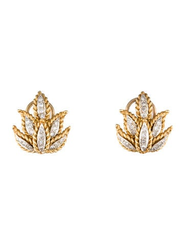 Diamond Leaf Earclips