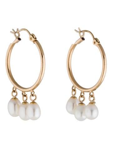 Pearl Dangle Hoop Earrings