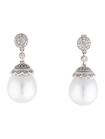 South Sea Pearl and Diamond Drop Earrings