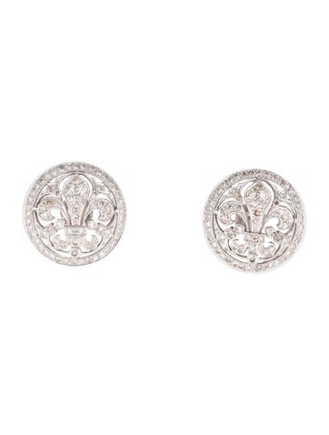 Diamond Fleur De Lis Earrings