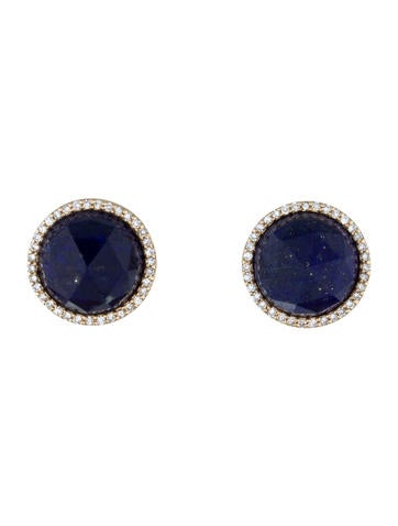 Lapis & Diamond Halo Earrings