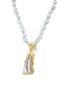 Abalone Pearl & Diamond Necklace