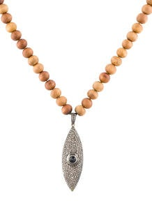 5.00ctw Diamond and Wooden Beaded Necklace