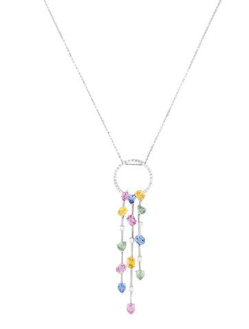 5.2ctw Multicolored Sapphire & Diamond necklace