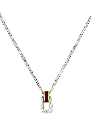 1.04ctw Ruby & Diamond Buckle Necklace