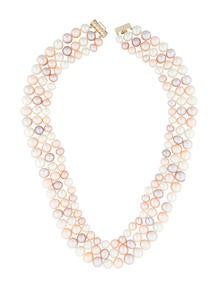 Three-Row Pearl Strand Necklace