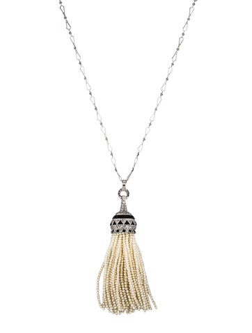3.00ctw Diamond & Pearl Tassel Necklace