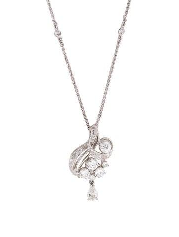 Platinum Diamond Drop Necklace