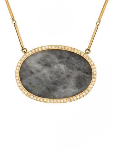 Agate & Diamond Halo Pendant Necklace